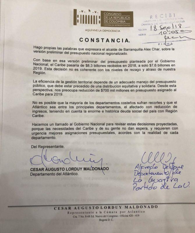 Lorduy protesta en el Congreso por recorte presupuestal para la Región Caribe 1
