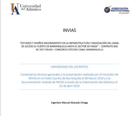 Estudios y diseños de mejoramiento en la infraestructura y navegación del canal de acceso al puerto de Barranquilla hasta sector Pimsa 2