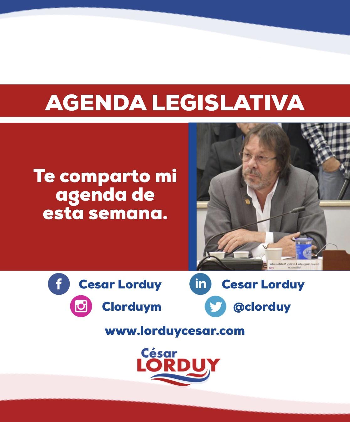 Cesar Lorduy comparte su agenda legislativa en la Cámara de Representantes del 6 al 10 de mayo 2