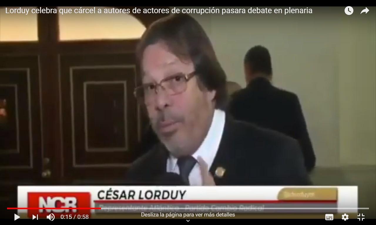 Lorduy celebra que cárcel a autores de corrupción pasara debate en plenaria 3