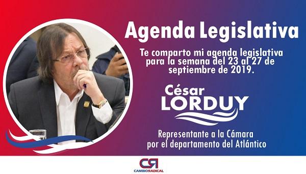 Cesar Lorduy comparte su agenda legislativa en la Cámara de Representantes del 23 al 27 de septiembre 2