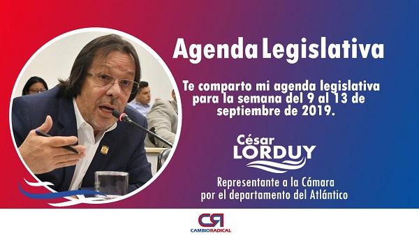 Cesar Lorduy comparte su agenda legislativa en la Cámara de Representantes del 9 al 13 de septiembre 1