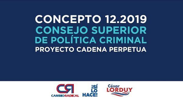 Este lunes, en Comisión Primera de la Cámara de Representantes será la discusión del acto legislativo sobre prisión perpetua del que Lorduy es uno de sus autores y ponentes 2