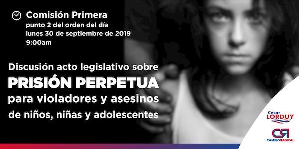 Este lunes, en Comisión Primera de la Cámara de Representantes será la discusión del acto legislativo sobre prisión perpetua del que Lorduy es uno de sus autores y ponentes 1