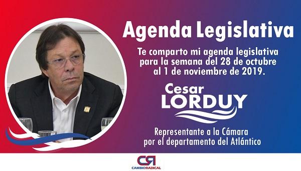 Cesar Lorduy comparte su agenda legislativa en la Cámara de Representantes del 28 de octubre al 1 de noviembre 3