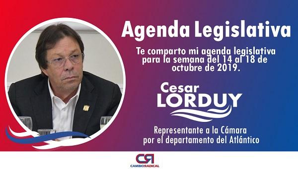 Cesar Lorduy comparte su agenda legislativa en la Cámara de Representantes del 14 al 18 de octubre 1