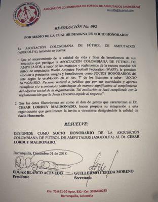 Cesar Lorduy designado socio honorario de la Asociación colombiana de fútbol de amputados 5