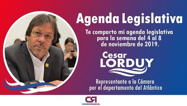 Cesar Lorduy comparte su agenda legislativa en la Cámara de Representantes del 5 al 8 de noviembre 2