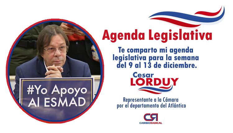 Te comparto mi agenda legislativa en la Cámara de Representantes del 9 al 13 de diciembre 6
