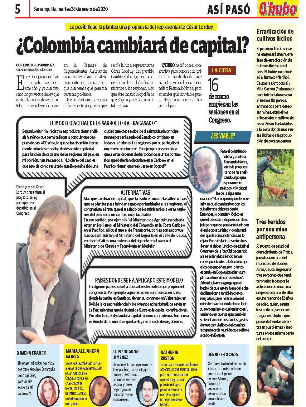 Lorduy propone traslado ministerios a otras regiones del país 34