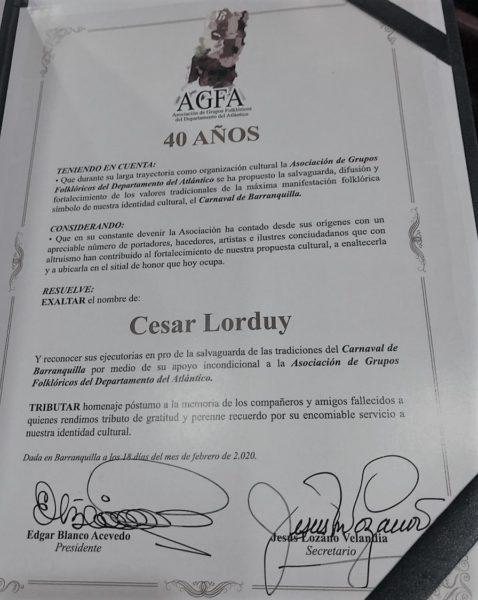 Cesar Lorduy reconocido por salvaguardar el Carnaval 4