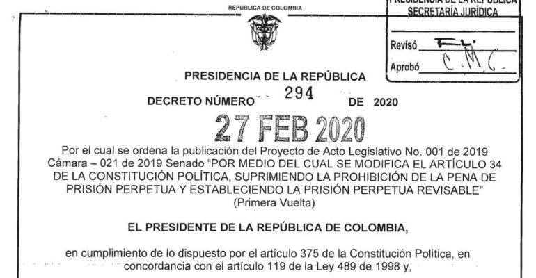 Cadena Perpetua Proyecto de Acto Legislativo N° 001 de 2019