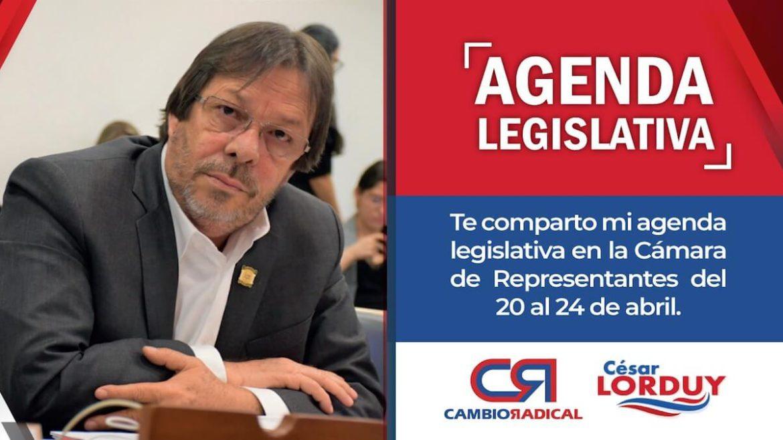 Agenda de Cesar Lorduy en la Cámara de Representantes del 20 al 24 de abril 1