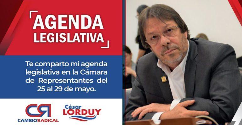 Agenda de Cesar Lorduy para última semana de mayo