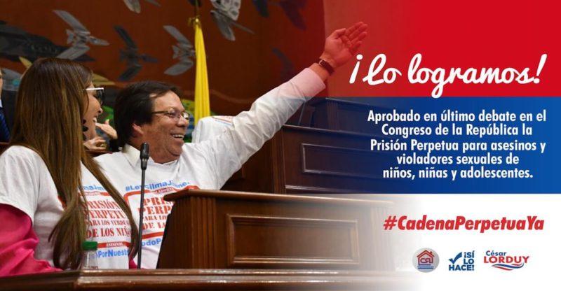 ¡Lo logramos!: Lorduy resalta compromiso del Senado al respaldar con abrumadora mayoría proyecto de cadena perpetua 1