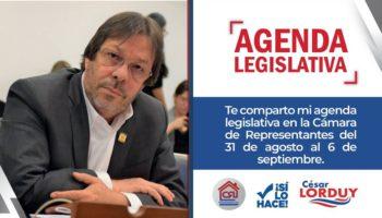Agenda de Cesar Lorduy en la Cámara de Representantes del 31 de agosto al 6 de septiembre 1