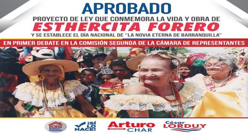 Enaltecer el legado cultural de Esthercita Forero, la propuesta de Arturo Char y Cesar Lorduy que superó su primer debate en la Cámara de Representantes 1