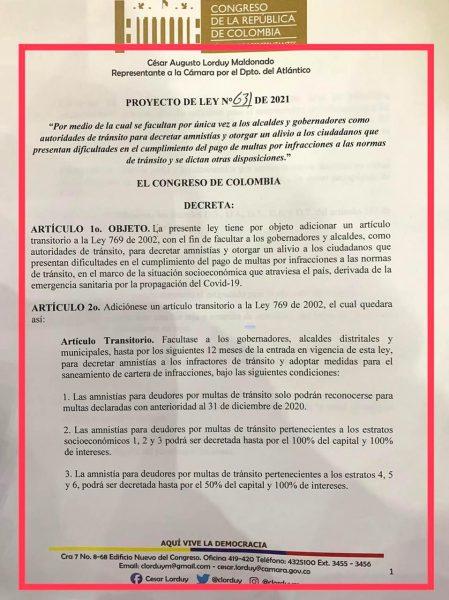 Radicado proyecto de ley que otorga amnistías y alivios por multas de tránsito, propuesta de Jaime Pumarejo llevada al Congreso 2