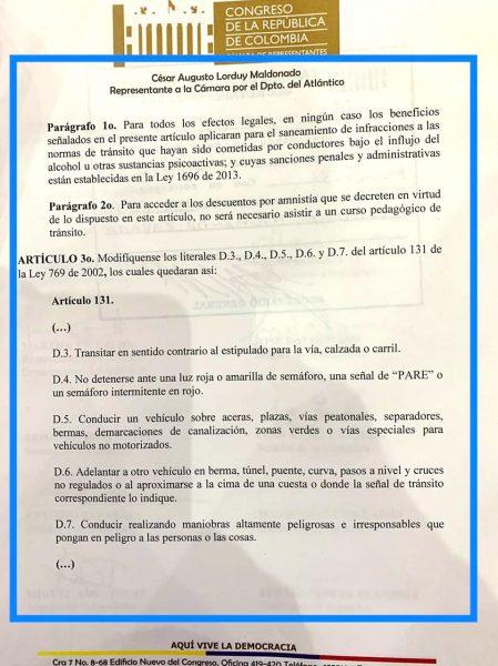 Radicado proyecto de ley que otorga amnistías y alivios por multas de tránsito, propuesta de Jaime Pumarejo llevada al Congreso 3