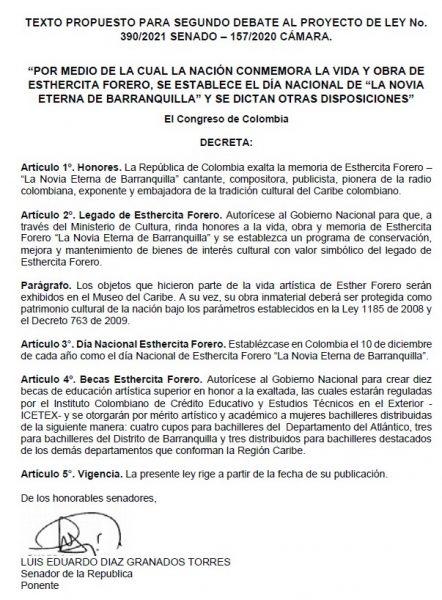 A sanción presidencial proyecto autoría de Arturo Char y Cesar Lorduy que exalta vida y obra de Esthercita Forero 1
