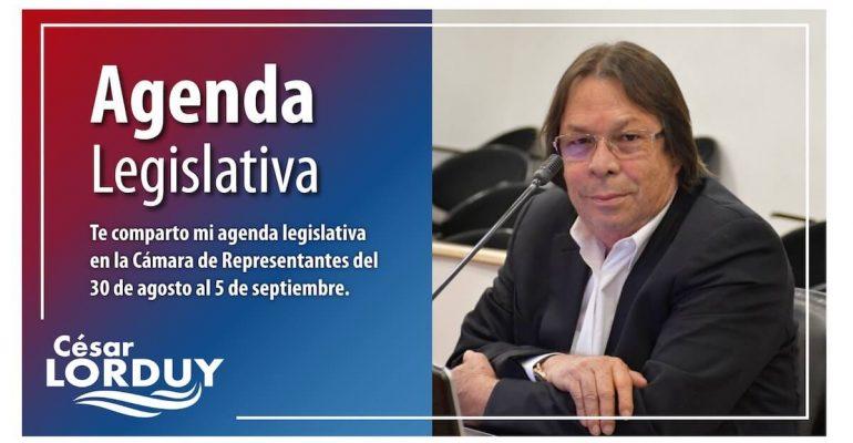 Agenda de Cesar Lorduy en la Cámara de Representantes del 30 de agosto al 5 de septiembre 1