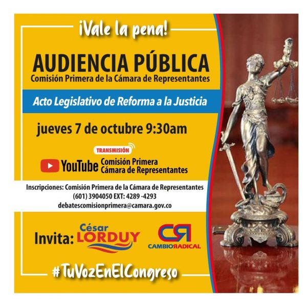 Proyecto de reforma a la justicia y la conformación de tribunales ambientales, los temas de audiencias públicas que organiza Cesar Lorduy 1